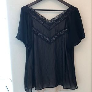 Black Lace Plus Size 1X Blouse Top w/Nude Lining